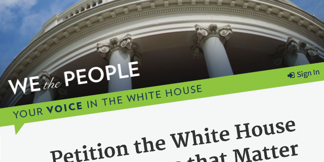 "Source: Screenshot of the ""We the People"" website."