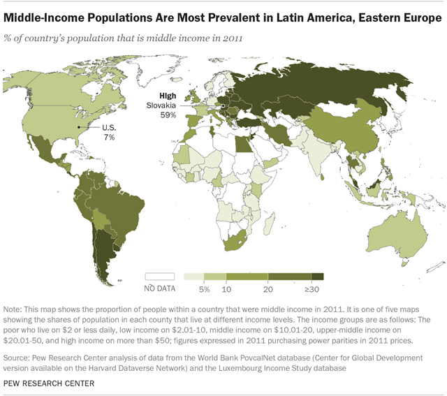 Middle-Income Populations Are Most Prevalent in Latin America, Eastern Europe