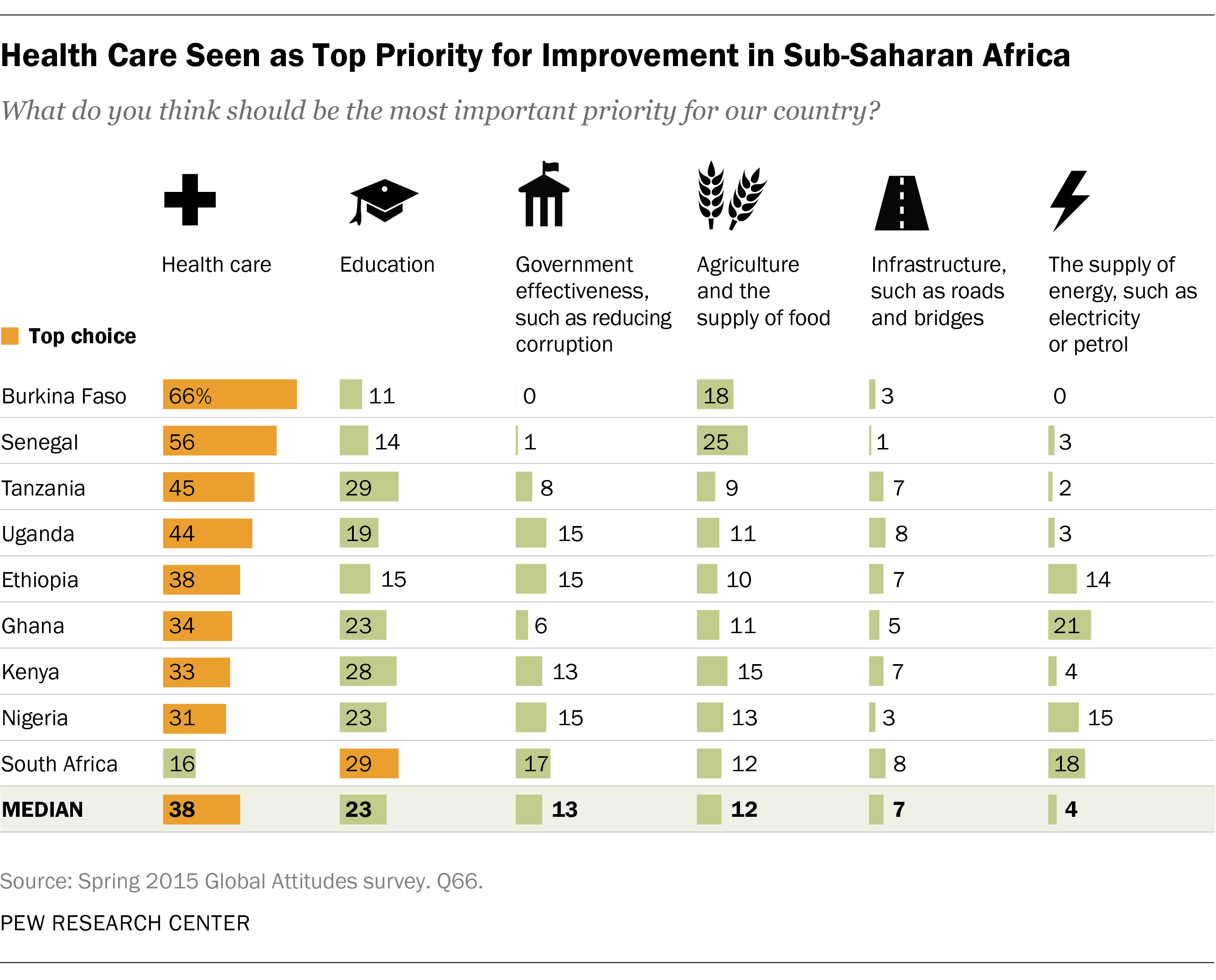 Health Care Seen as Top Priority for Improvement in Sub-Saharan Africa