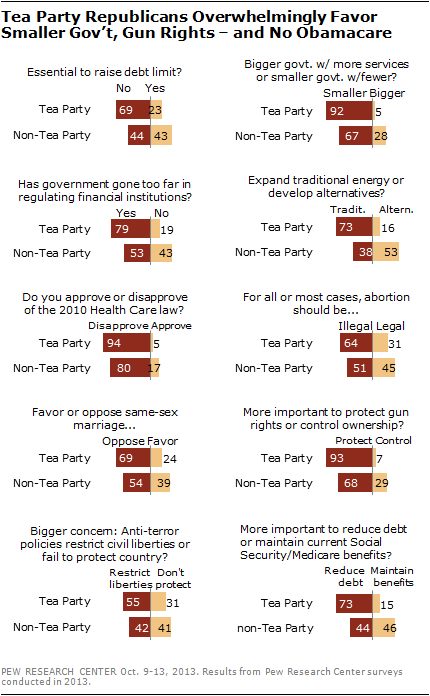 Tea Party Republicans Overwhelmingly Favor Smaller Gov't, Gun Rights – and No Obamacare
