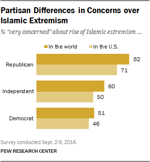 Partisan Differences in Concerns over Islamic Extremism