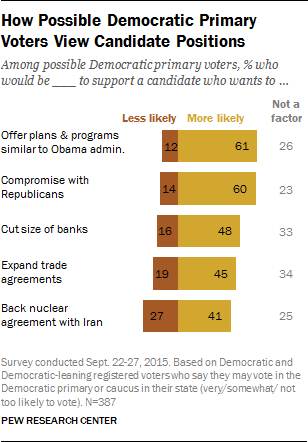 How Possible Democratic Primary Voters View Candidate Positions