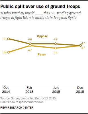 Public split over use of ground troops
