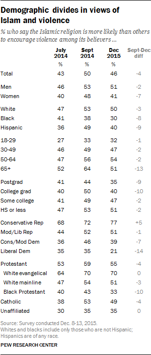 Demographic divides in views of Islam and violence