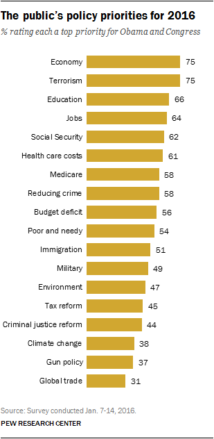 The public's policy priorities for 2016