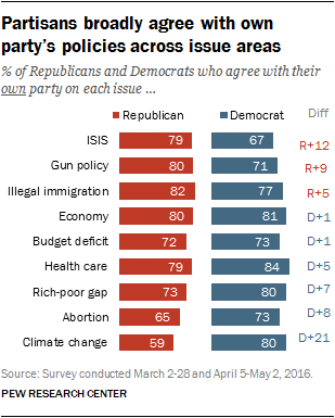 Partisans broadly agree with own party's policies across issue areas