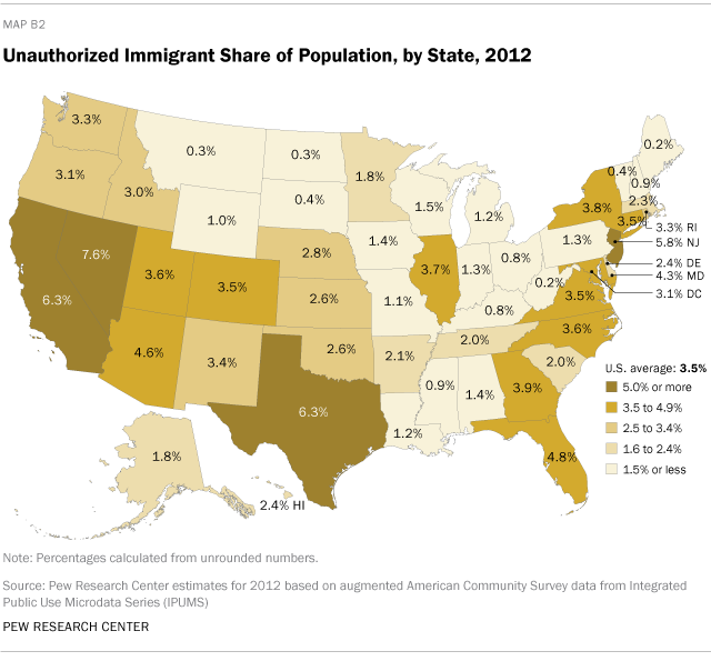 Unauthorized Immigrant Share of Population, by State, 2012