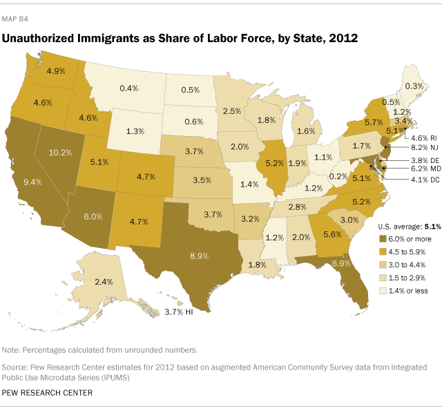Unauthorized Immigrants as Share of Labor Force, by State, 2012