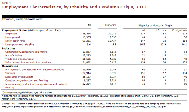 Employment Characteristics, by Ethnicity and Honduran Origin, 2013