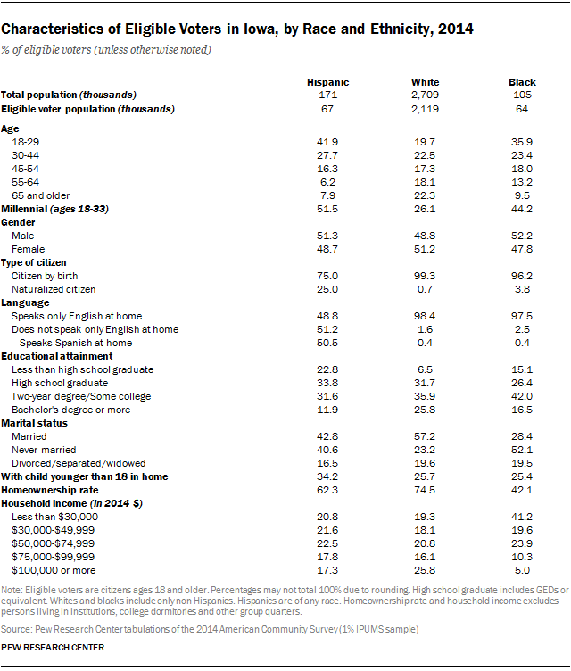 Characteristics of Eligible Voters in Iowa, by Race and Ethnicity, 2014