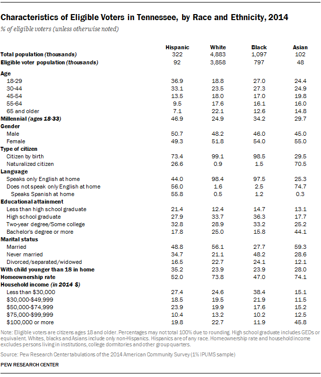Characteristics of Eligible Voters in Tennessee, by Race and Ethnicity, 2014